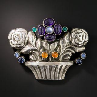 Georg Jensen Silver Multi-Gem Flower Basket Brooch #67 - 2