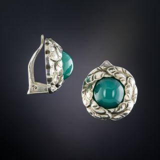Georg Jensen Sterling Silver Chalcedony Earrings