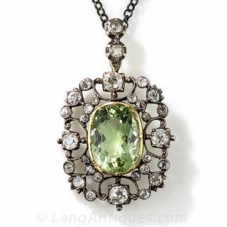 Georgian Antique Green Beryl and Diamond Pendant - 2