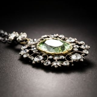 Georgian Antique Green Beryl and Diamond Pendant
