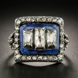 Georgian Diamond and Blue Glass Ring - 2