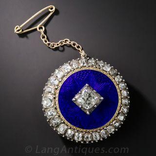 Late Georgian/ Early Victorian Guilloche Enamel and Diamond Brooch - 1