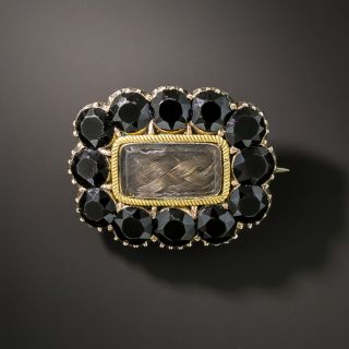 Georgian Hair and French Jet Mourning Brooch - 2