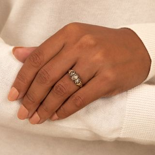 Georgian Retrospective Three-Stone Rose-Cut Diamond Ring