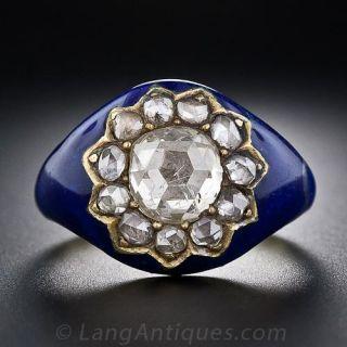 Georgian Rose-Cut Diamond Blue Enamel Ring - 1