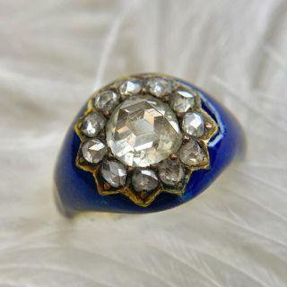 Georgian Rose-Cut Diamond Blue Enamel Ring