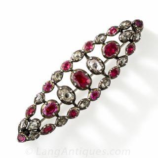 Georgian Ruby and Diamond Brooch