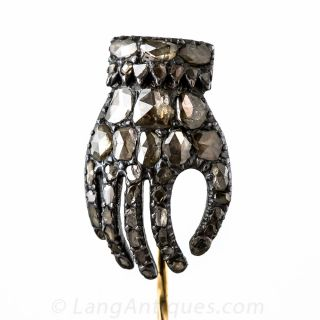 Georgian Silver and Rose-Cut Diamond Hand Stickpin - 1