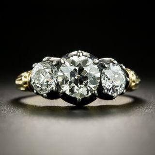 Georgian Style 1.03 Carat Center Diamond Three-Stone Ring - GIA J SI2 - 2