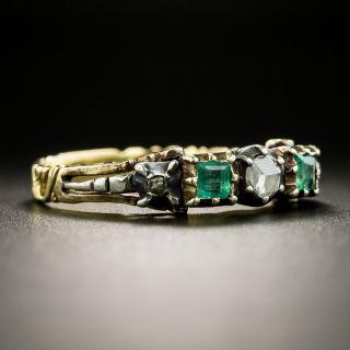 Georgian Style Diamond and Emerald Band Ring