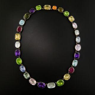 Georgian Style Large Colorful Multi-Gem Necklace - 3
