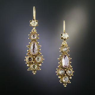 Georgian Topaz Dangle Earrings - 2