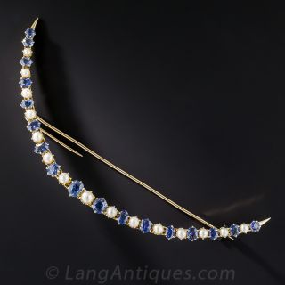 Ginormous Victorian Sapphire and Diamond Crescent Brooch - 1