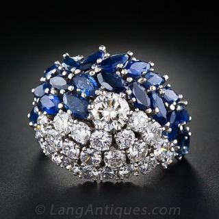 Glamorous Diamond and Sapphire Cocktail Ring - 1