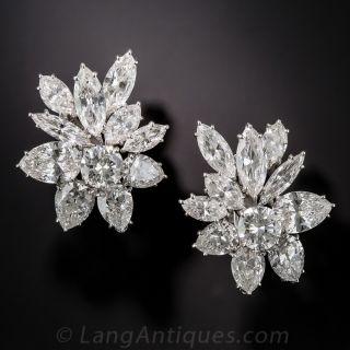 Glamorous Harry Winston Style Diamond Clip Earrings - 1