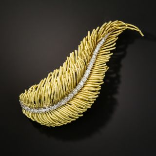 Gold and Diamond Feather Brooch - 2