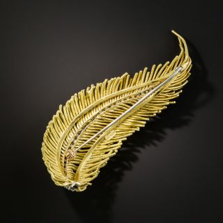 Mid-Century Gold and Diamond Feather Brooch