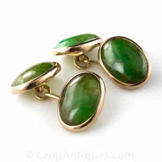 Gold and Jade Cufflinks
