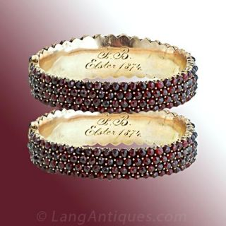 Gorgeous Pair of Bohemian Garnet Bangles