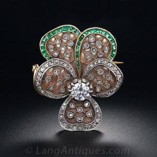 Gorgeous Plique-a-Jour Diamond and Emerald Pansy Brooch