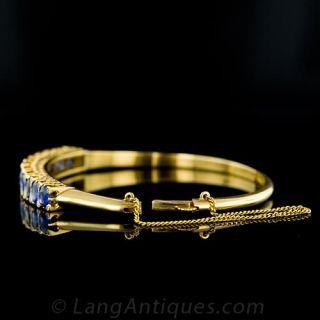 Gorgeous Victorian Style Sapphire and Diamond Bangle Bracelet