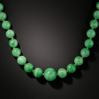 Graduated Natural Burmese Jade Bead Necklace - 2