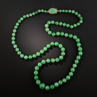 Mid-Century Natural Burmese Jade Bead Necklace