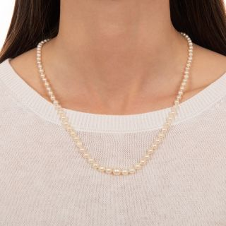 Graduated Natural Pearl Strand Necklace - GIA