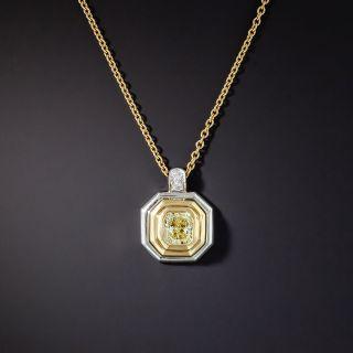 Graff 1.02 Carat Fancy Light Yellow Radiant Diamond Pendant Necklace - GIA - 0
