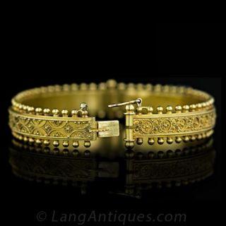Granulated Gold Bangle Bracelet, Circa1880