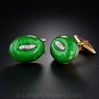 Green Enamel and Diamond Cufflinks