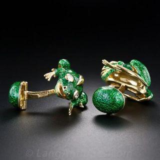 Green Enamel Frog Cufflinks