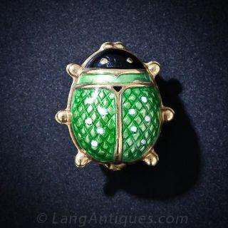 Green Enamel Ladybug Pin