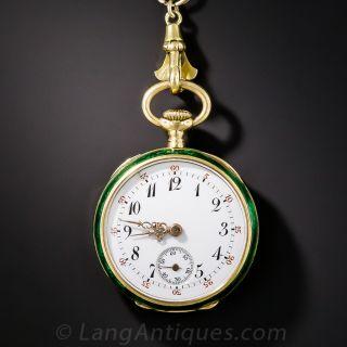 Green Enamel Pendant Watch and Chain by Bigelow, Kennard & Co., Boston