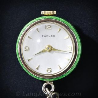 Green Enameled Pendant Ball Watch and Chain
