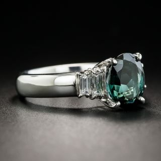Green Tourmaline Platinum Diamond Ring