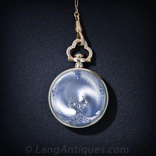 Guilloche Enamel Pendant Watch Necklace