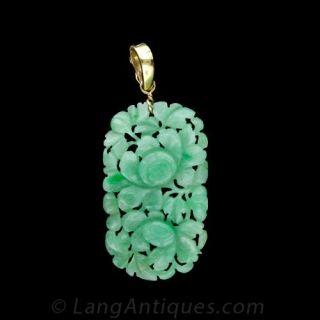 'Gumps' Carved Jade Pendant