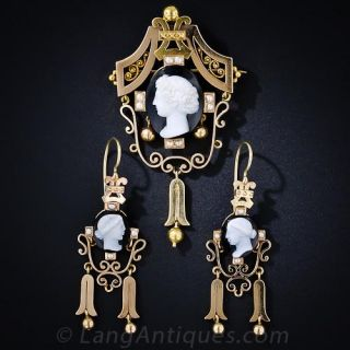 Hardstone Cameo Pin and Earring set