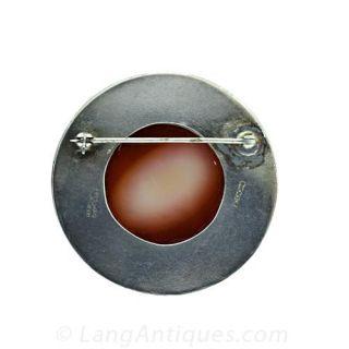 Hardstone Carnelian Cameo in Silver Frame