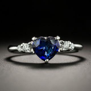 Heart-Shaped 1.10 Carat Sapphire and Diamond Ring - 1
