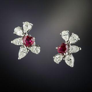 Heart-Shaped Ruby and Diamond Earrings - 1