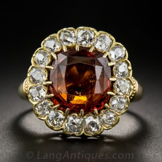 Hessonite Garnet and Diamond Victorian Ring - 2
