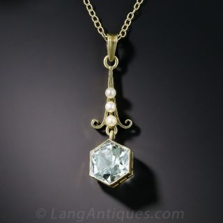 Hexagonal Aquamarine and Seed Pearl Drop