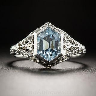 Hexagonal Aquamarine Art Deco Ring
