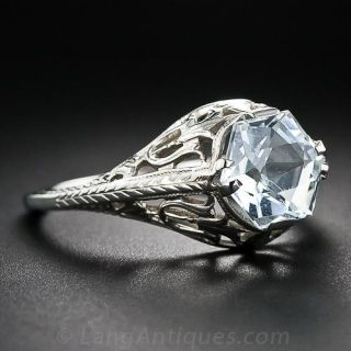 Vintage Hexagonal Aquamarine Ring