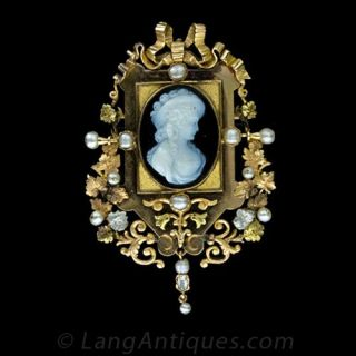 Highly Decorative Victorian Hardstone Cameo Pin   Pendant Main View 1