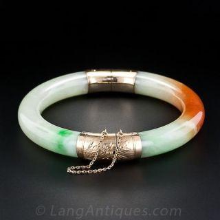 Hinged Jadeite Bangle Bracelet