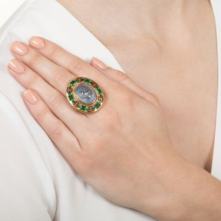 Holbeinesque Sapphire Carved Cameo Rennaissance Revival Ring