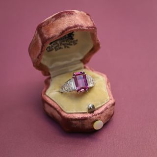 4.74 Carat Pink Sapphire and Baguette Diamond Ring